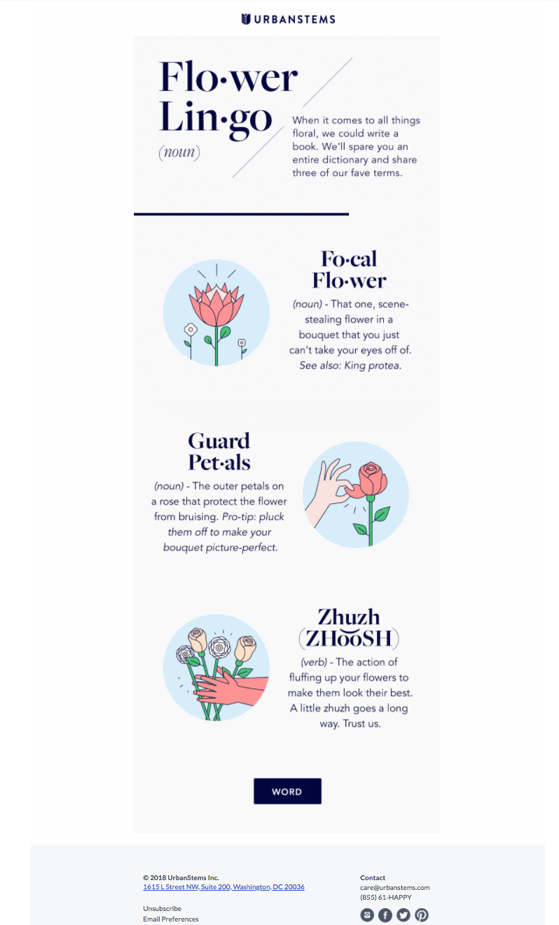 urban stems content marketing email examples
